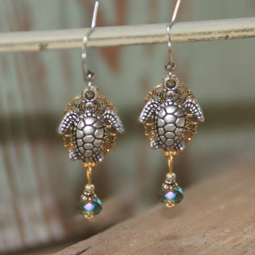 OC-19  Filagree background Layered Seaturle Earrings
