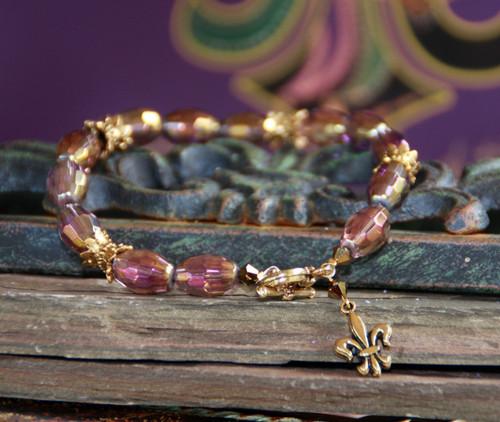 BR-57 Mardi Gras color Fleur de Lis Bracelet