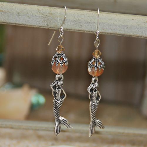 OC-22  Mermaids Coral Crystals Earrings