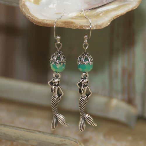 OC-23  Mermaids and Aqua Crystals Earrings