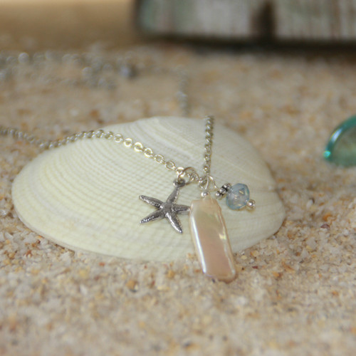 OC-4  Freshwater Pearl Starfish Silver Finish Necklace