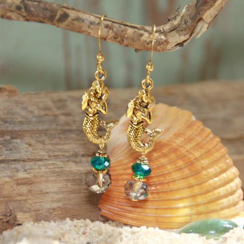 OC-8  Mermaids and Crystal Drops Earrings