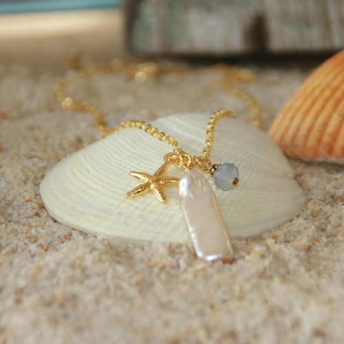 OC-6  Natural Freshwater Pearl and Golden Starfish Necklace
