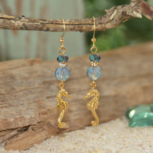 OC-7  Seahorses and Crystals Earrings