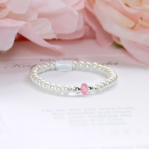 STG-168  Sterling Silver Glass Pearls Focal Pink Bracelet
