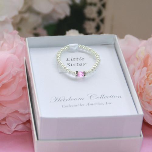 CJ-185  Infant Little Sister Pearl Stretchy Bracelet