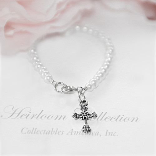 CJ-122  Infant Dainty Cross Fine Glass Pearls Bracelet