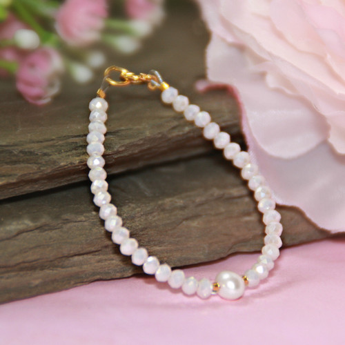 CJ-145-4  Opaque Pink and Pearl Infant Bracelet 4 1/2""