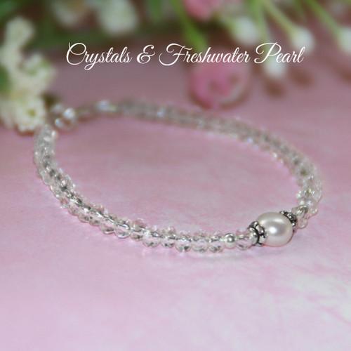 """STG-2-4  Sterling Silver Crystals & Pearls 4 1/2"""" Bracelet"""