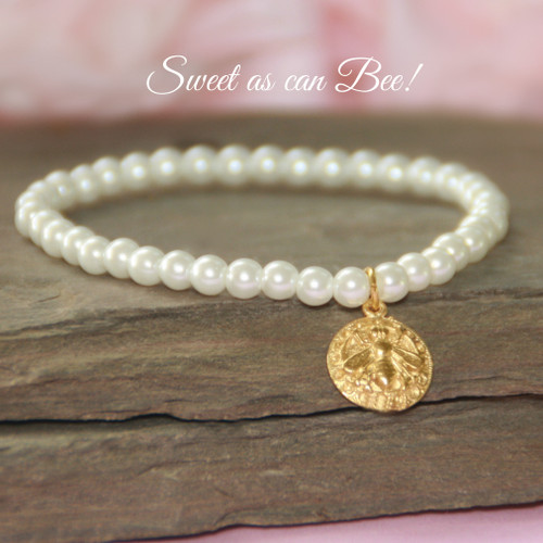 "CJ-572-5  Sweet as can Bee 5"" Pearl Bracelet"