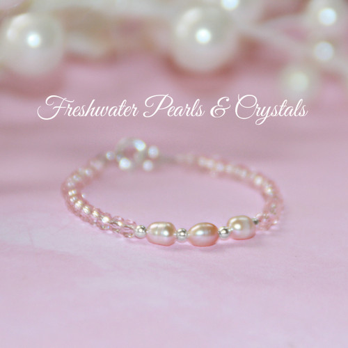 "STG-27-4  Lots of Pink! FW Pearls & Crystals Sweet Bracelet 4 1/2"" Infant Size"