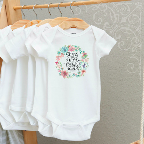 00-47CR More Precious than Jewels 3-6 Months Onesie (with crystals)