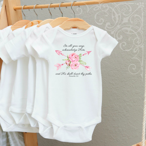 00-83CR  He Shall direct thy Path  3-6 Months Onesie (with crystals)