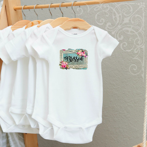 00-19CR  Blessed 3-6 Months Onesie (with crystals)