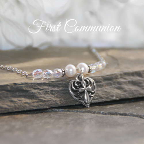 RH-71  Heart with Cross Pearls & Crystals First Communion Necklace