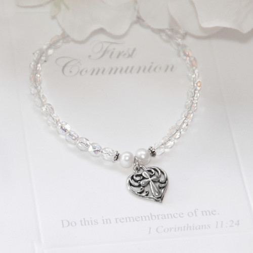 RH-72  Crystals AB Heart Cross Charm Bracelet First Communion