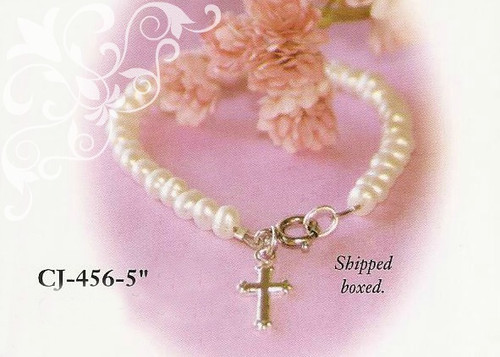 CJ-456-5 Baby Freshwater Pearl Bracelet with Rhodium Cross 5""
