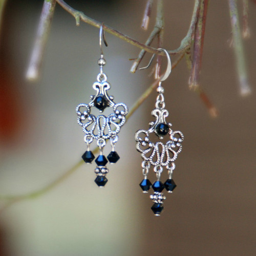 FER-122  Lacy Drop Earrings with Black crystals
