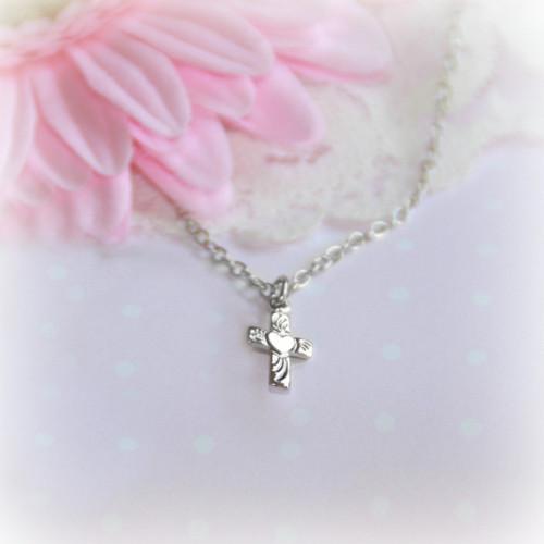 RH-35  Sweetheart Cross Rhodium Necklace