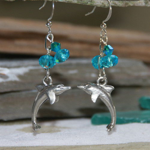 OC-56  Dolphins and Crystals Earrings