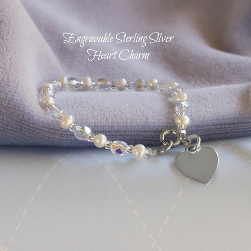STG-250  Engraveable Sterling Silver Freshwater Pearl and Crystals Bracelet 5""