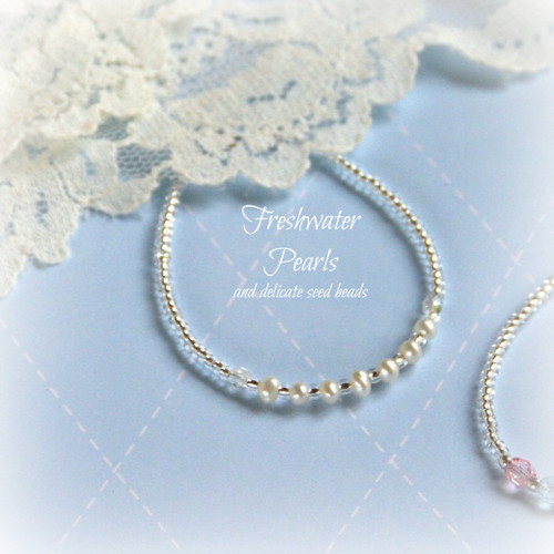 "STG-63  Freshwater Pearls and tiny seed beads Infant 4 1/2"" Bracelet"