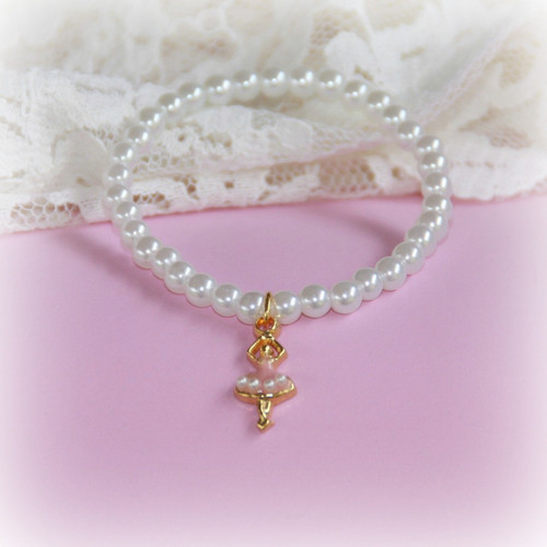 CJ-359  Ballerina Bracelet with Tiny Pearls 6""