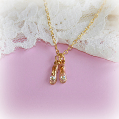 CJ-352  Ballet Slipper Necklace