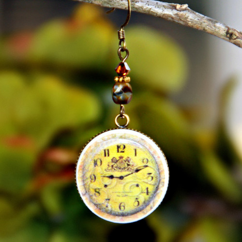ART-120E Faux Watch Face Vintage Style Earrings