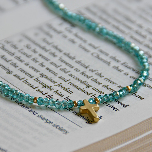 IS-667 Dainty beaded cross Necklace, Great piece!