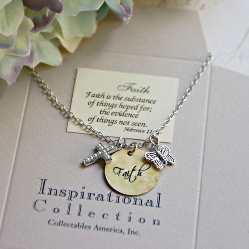 IN-488 Faith Charm Necklace with Seed Pearl Cross