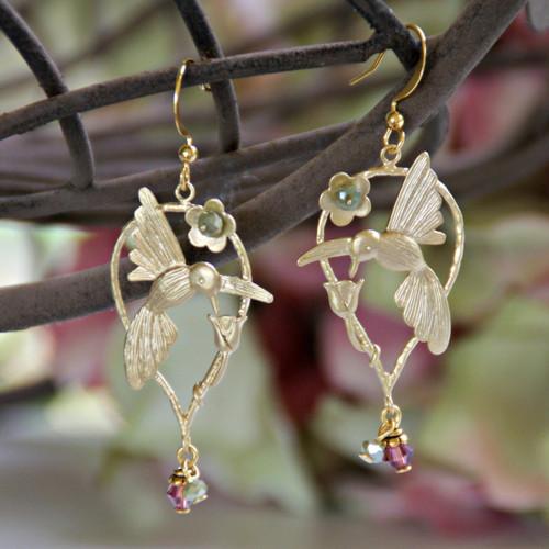 IS-640 Elegant Hummingbird Earrings