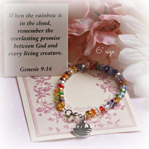 """CJ-344 Rainbow  Noah Crystal 6"""" Bracelet"""