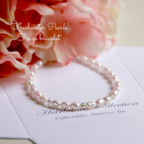 """CJ-346-5 Freshwater Pearls and Crystals Bracelet 5"""""""