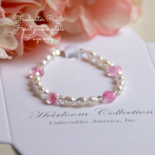 """CJ-462 Baby 5"""" Freshwater Pearls and Pink Glass Hearts Bracelet"""