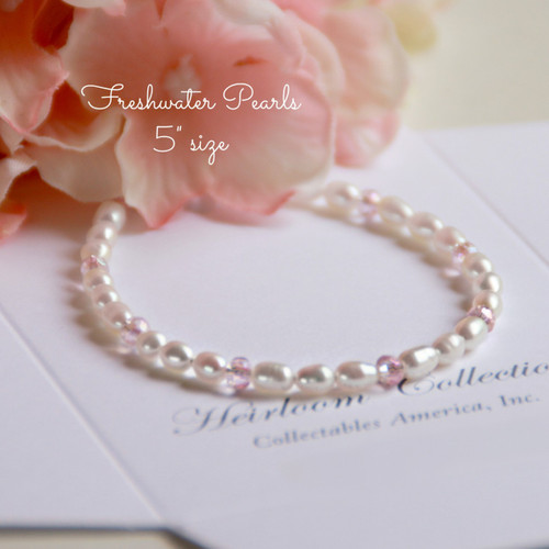 """CJ-350-5 Soft Pink Crystals and Freshwater Pearls 5"""" Bracelet"""