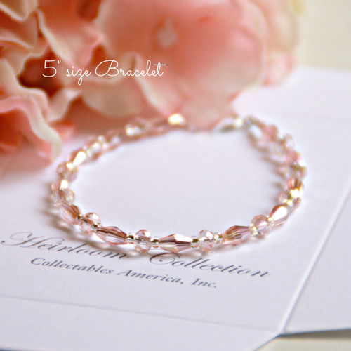 "CJ-461-5 Sophisticated Pale Pink Crystals Oh so Sweet! 5"" bracelet"