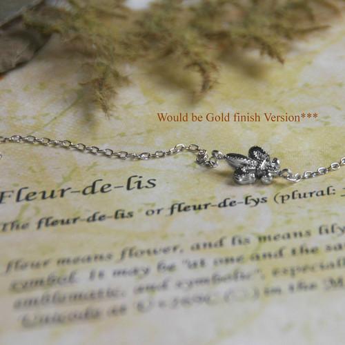 IS-3 Fleur De Lis Sideways Necklace GOLD Finish