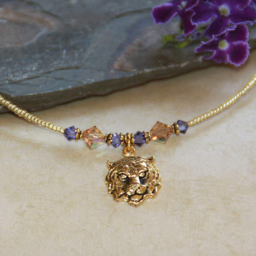 TG-1 Tiger Face Gold Finish Necklace