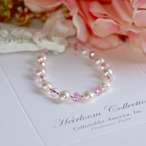 """CJ-382-6 Freshwater Button Pearls & Pink Crystals 6"""" Bracelet"""