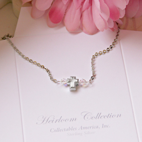 GG-37 Sweet Cross with Swarovski Crystals AB Necklace