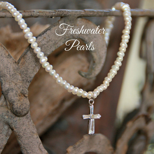 IN-403 CZ cross & Freshwater Pearls Necklace