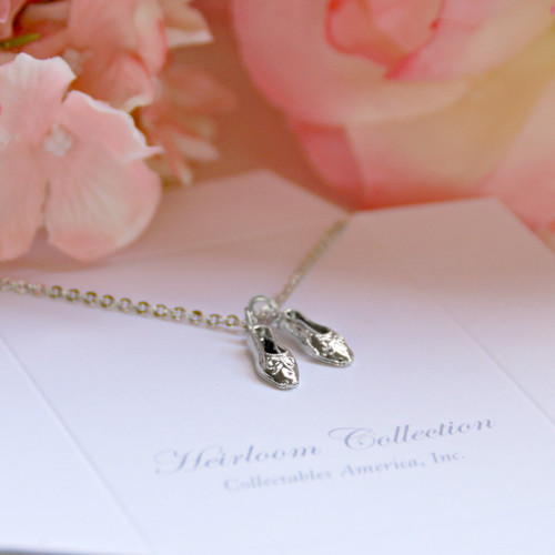 CJ-495  Ballet Shoes Necklace Rhodium Finish