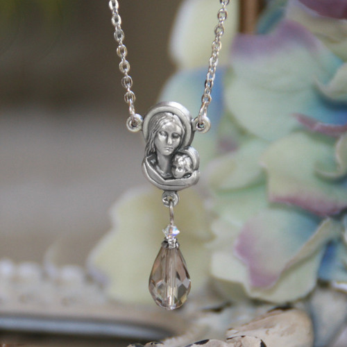 IN-508  Madonna & Child Necklace