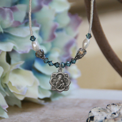IN-631  Mary Medal Beaded Necklace