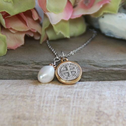 IN-510  St. Benedict with Freshwater Pearl Necklace