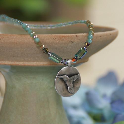 IS-132  Beautiful Hummingbird Necklace