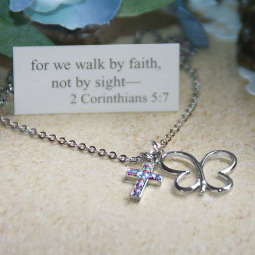 "IN-515  Butterfly ""Faith"" Necklace...great for Teens and up!"