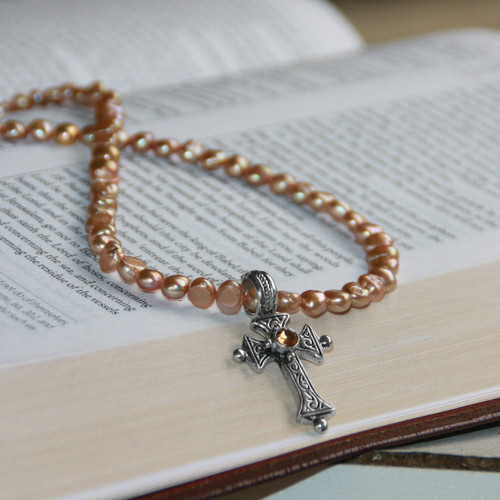 IS-53  Freshwater Pearls with Cross Necklace