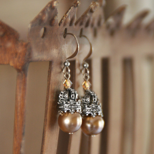 "IS-185 Timeless Pearl Earrings with ""Crown"" Accents"